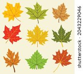 collection of simplicity maple... | Shutterstock .eps vector #2043229046