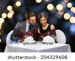 restaurant  couple and holiday... | Shutterstock . vector #204329608