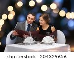 restaurant  couple and holiday... | Shutterstock . vector #204329656