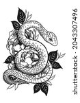hand drawn snake and peony... | Shutterstock .eps vector #2043307496