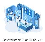 isometric 3d expo demonstration ... | Shutterstock .eps vector #2043312773