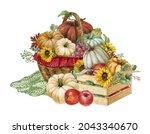 Watercolor Pumpkin And Flower...