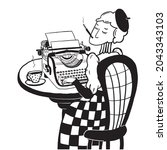 Lady Writer Typing On A...