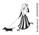 Woman Walk With A Dog  Ink Art...
