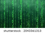 green matrix digital background....   Shutterstock .eps vector #2043361313