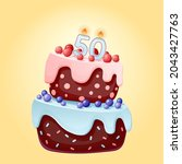 fifty years birthday cake with...   Shutterstock .eps vector #2043427763