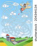 Airplane maze for kids. Help navigate the airplane to the runway.