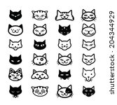 collection of cat icons ... | Shutterstock .eps vector #204344929