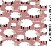 sheep seamless background | Shutterstock . vector #204348604