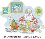 santa claus washing dishes ... | Shutterstock .eps vector #2043612479