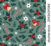 cute drawn christmas elements   ... | Shutterstock .eps vector #2043639386