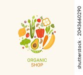 organic shop banner with... | Shutterstock .eps vector #2043660290