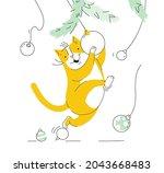 respectable cute cat character... | Shutterstock .eps vector #2043668483