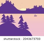 landscape river and mountains... | Shutterstock .eps vector #2043673703