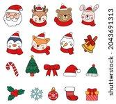 santa and animals clipart ... | Shutterstock .eps vector #2043691313