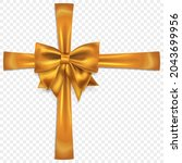 beautiful golden bow with... | Shutterstock .eps vector #2043699956
