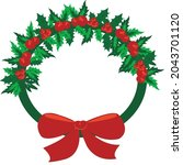 beautiful christmas wreath with ... | Shutterstock .eps vector #2043701120