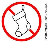 ban of christmas sock icon. no... | Shutterstock .eps vector #2043702866