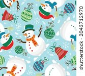 christmas seamless pattern with ... | Shutterstock .eps vector #2043712970