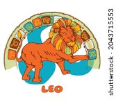 horoscope of a lion. image of a ... | Shutterstock .eps vector #2043715553
