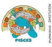 zodiac circle. constellation... | Shutterstock .eps vector #2043715556