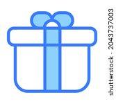 gift box vector blue outline... | Shutterstock .eps vector #2043737003