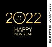 2022 happy new year golden text ... | Shutterstock .eps vector #2043742133