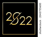 2022 new year golden number on... | Shutterstock .eps vector #2043755600
