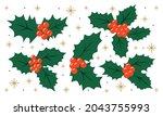 holly set for christmas decor... | Shutterstock .eps vector #2043755993