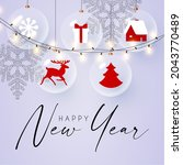 merry christmas and happy new... | Shutterstock .eps vector #2043770489