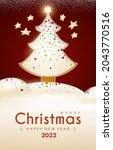 merry christmas cute design... | Shutterstock .eps vector #2043770516