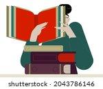 woman teacher reads a book....   Shutterstock .eps vector #2043786146