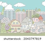 seamless border with nice town...   Shutterstock .eps vector #2043797819