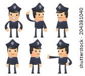set of policeman character in different interactive  poses