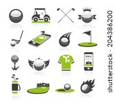 golf icon set | Shutterstock .eps vector #204386200