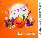 happy halloween background ... | Shutterstock .eps vector #2043874529