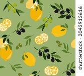 seamless pattern of lemons and...   Shutterstock .eps vector #2043913616