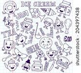 food funny cute doodle set.... | Shutterstock .eps vector #204397438