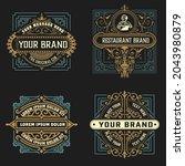 set of 4 vintage labels for...   Shutterstock .eps vector #2043980879