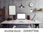 Stock photo loft workspace 204407506