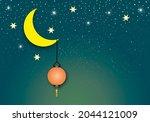 Moon With Lantern On Night...