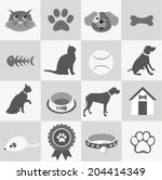 Stock vector pet icons set 204414349