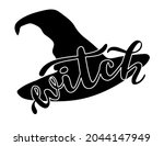 witch word with black hat...   Shutterstock .eps vector #2044147949