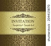 baroque invitation card in old... | Shutterstock .eps vector #204415870