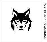 wolf head logo icon flat   Shutterstock .eps vector #2044183523