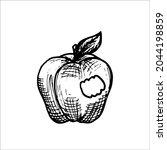 bitten apple with leaves   hand ... | Shutterstock .eps vector #2044198859