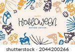 happy halloween. template for a ... | Shutterstock .eps vector #2044200266
