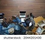 top view selling online start...   Shutterstock . vector #2044201430