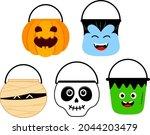 cute halloween cartoon bucket... | Shutterstock .eps vector #2044203479