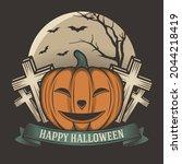 retro pumpkin halloween jack o... | Shutterstock .eps vector #2044218419